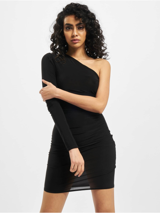 Missguided Dress Slinky One Sleeve Ruched Mini black