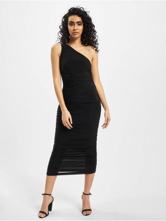 Missguided Dress Slinky Ruched One Shoulder black