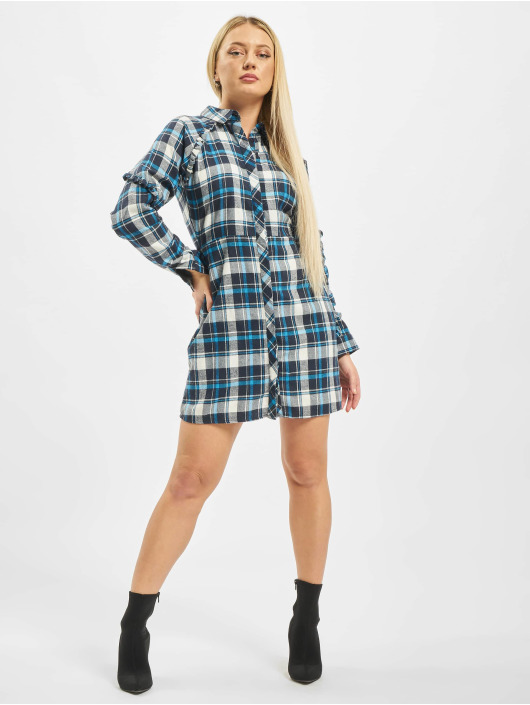 Missguided Dress Ruffle Sleeve blue