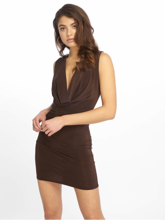 Missguided Dress Double Layer Deep Cowl Mini brown