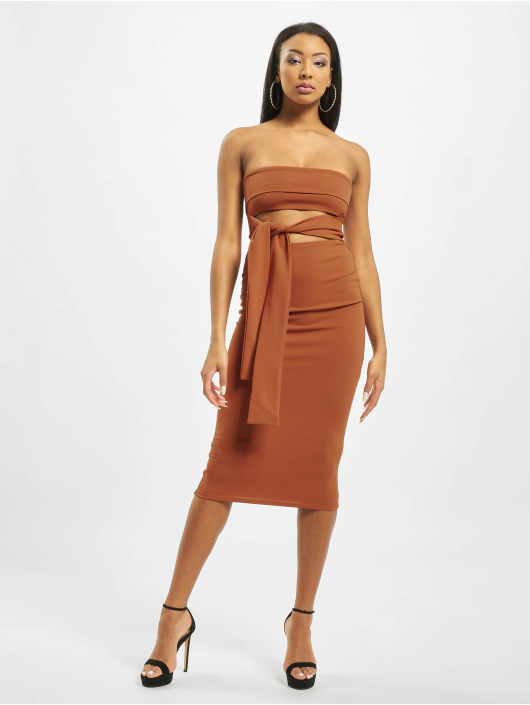 Missguided Dress Cut Out Belted Bandeau brown