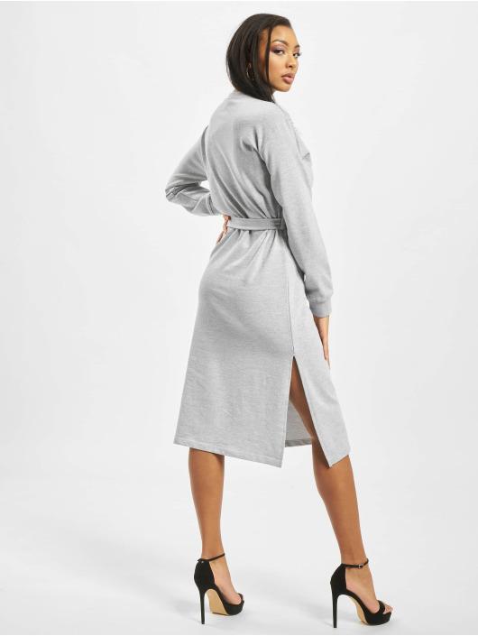 Missguided Dress Sweater Midi Tie Belt gray