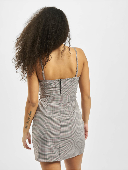 Missguided Dress Micro Check Belted Mini Cami gray