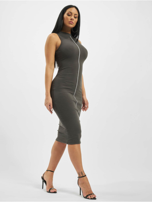 Missguided Dress Rib Contrast Piping Midaxi gray