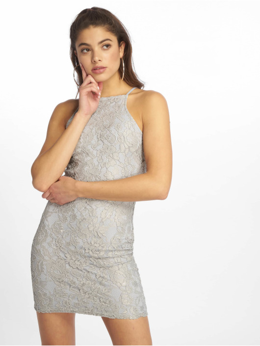 Missguided Dress Lace Square Neck grey
