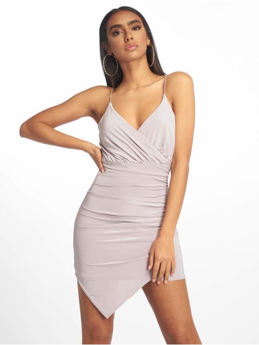 Missguided Dress Strappy Slinky Wrap Bodycon grey