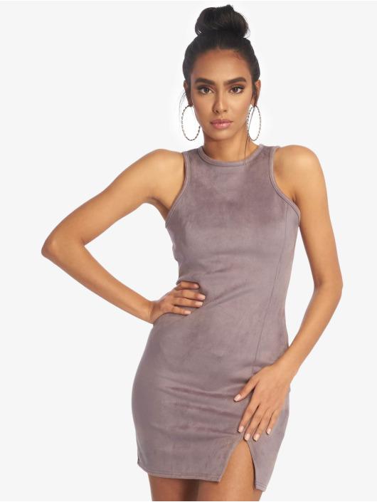 Missguided Dress Bonded Suede Split Side Mini grey