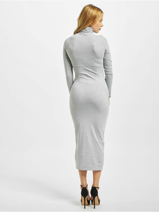 Missguided Dress Roll Neck Corset Detail Midi grey