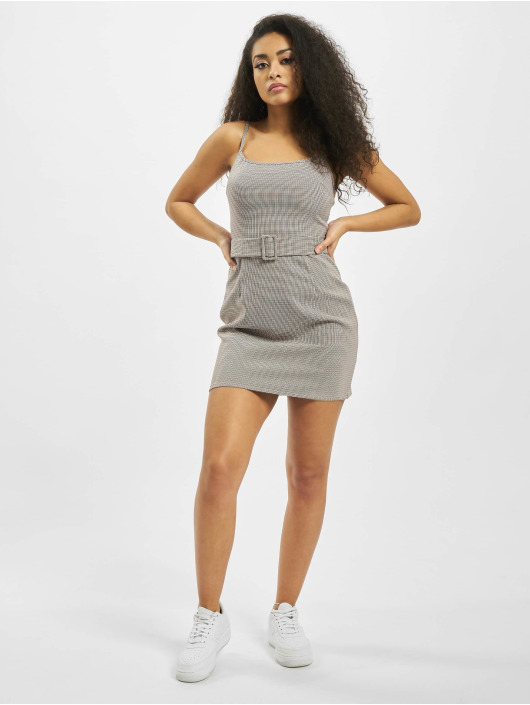 Missguided Dress Micro Check Belted Mini Cami grey