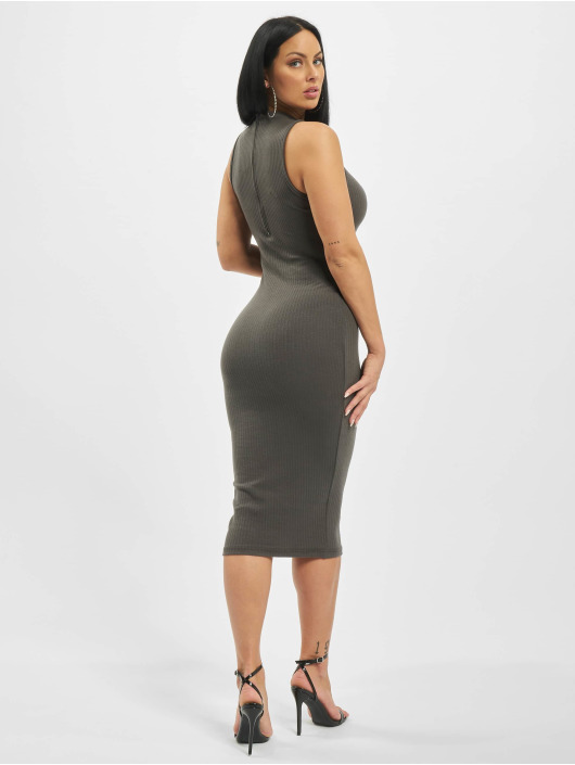 Missguided Dress Rib Contrast Piping Midaxi grey