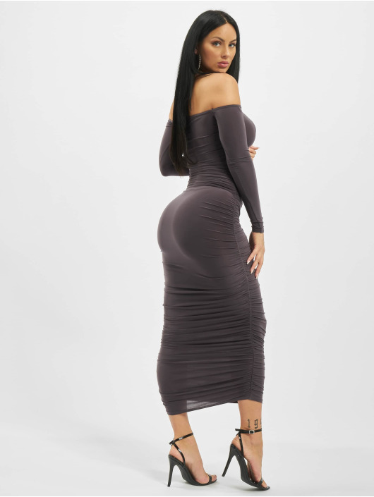 Missguided Dress Bardot Slinky Ruched Midaxi grey