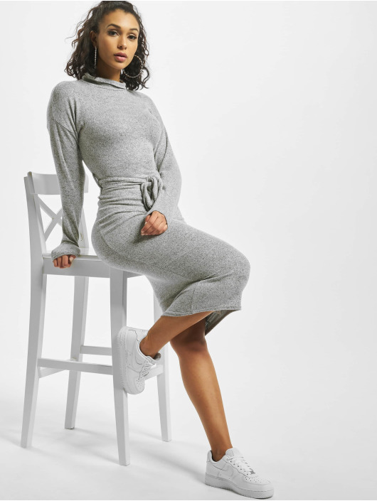 Missguided Dress Brushed Knit High Neck Belted Midi grey