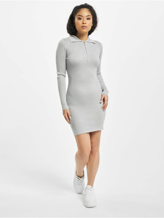 Missguided Dress Zip Front Collar Ribbed Mini grey