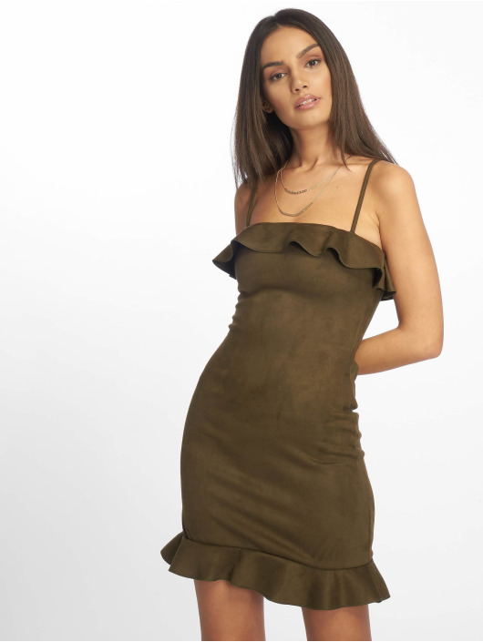 Missguided Dress Bonded Suede Frill khaki