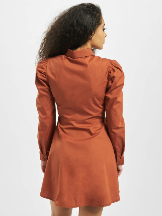 Missguided Dress Puff Sleeve Skater orange