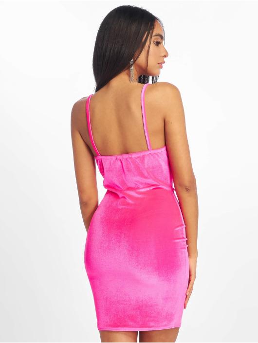 Missguided Dress Neon Velvet Cowl pink