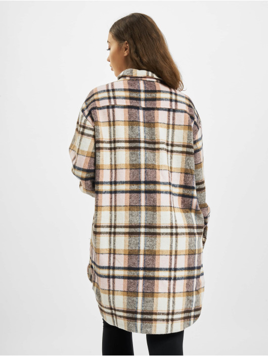 Missguided Dress Oversized Shirt Brushed Check pink
