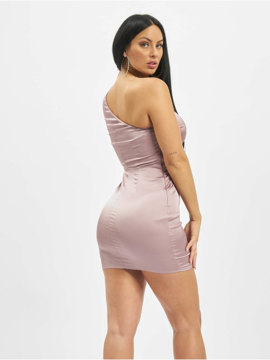 Missguided Dress One Sleeve Stretch Satin Mini purple