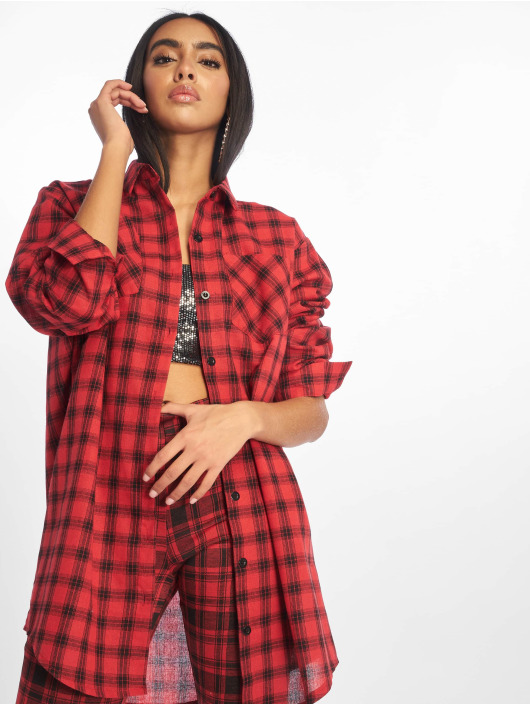 Missguided Dress Oversized Shirt Dress Check red