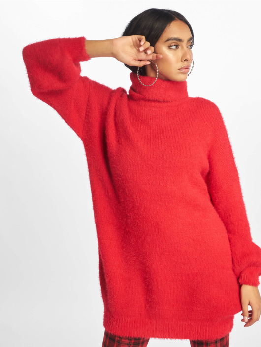 Missguided Dress Premium Fluffy Roll Neck red