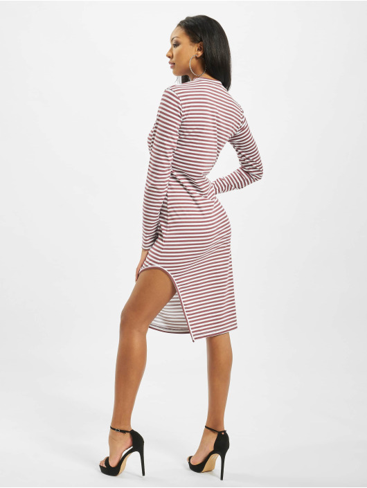 Missguided Dress Side Split Midi Longsleeve Stripe red