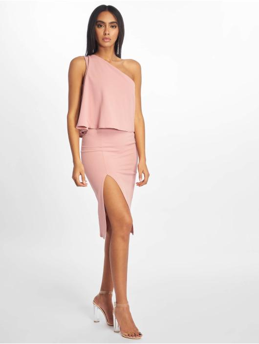 Missguided Dress Crepe One Shoulder Overlay Split Midi rose
