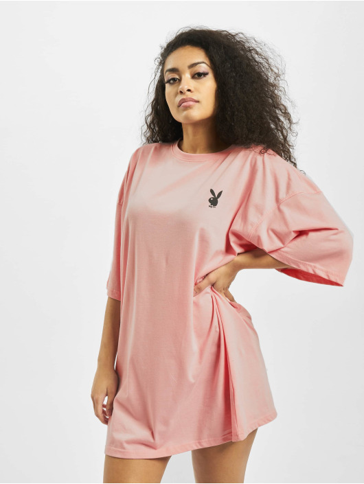 Missguided Dress Playboy Repeat Slogan T-Shirt rose