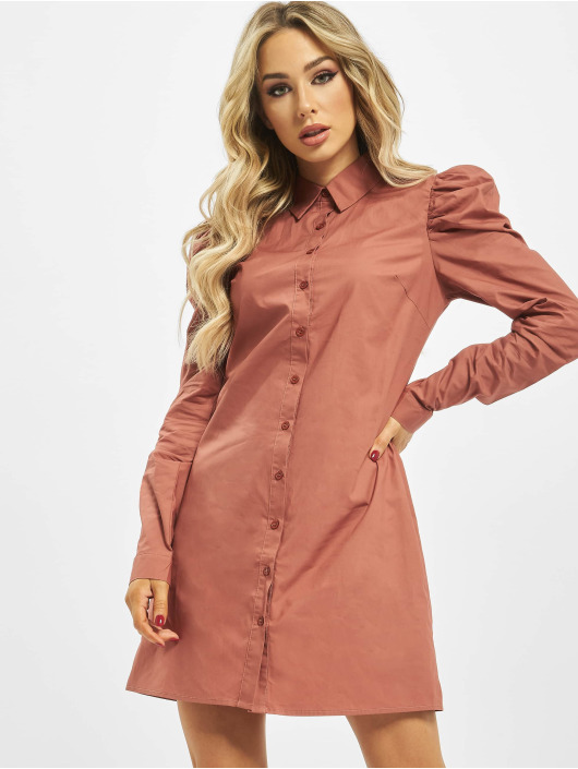 Missguided Dress Cotton Poplin Puff Sleeve rose