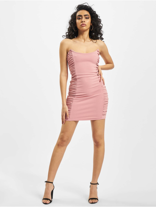 Missguided Dress Scuba Crepe Ruched Side Mini rose