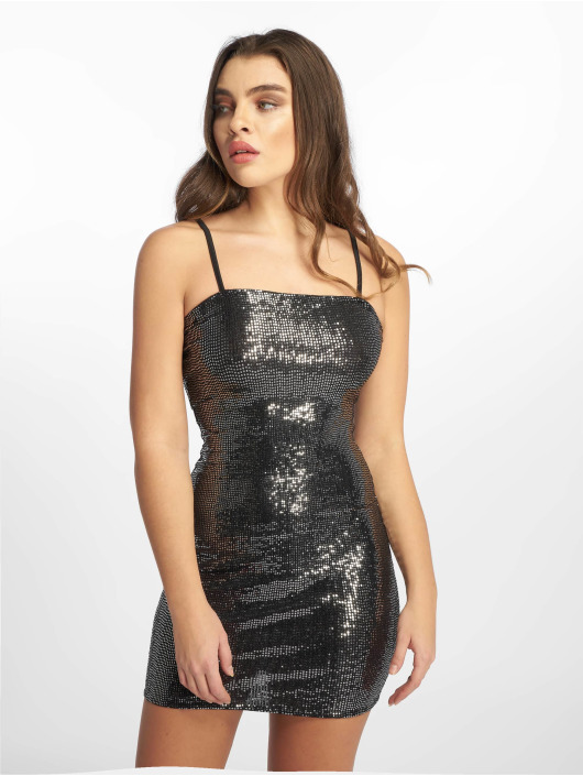 Missguided Dress Sewn Through Disc silver colored