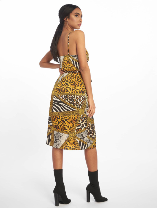 Missguided Dress Cowl Neck Animal Print Satin Midi yellow