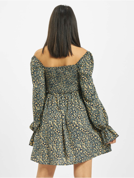 Missguided Dress Milkmaid Shirred Bust Mini Floral yellow