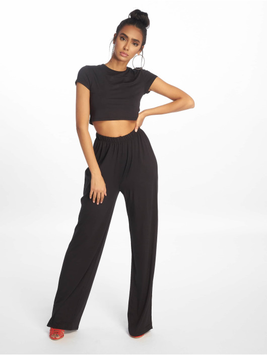 Missguided Dresy Crop Top And Wide Leg czarny