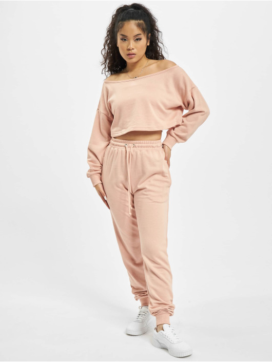 Missguided Dresy Coord Off The Shoulder rózowy