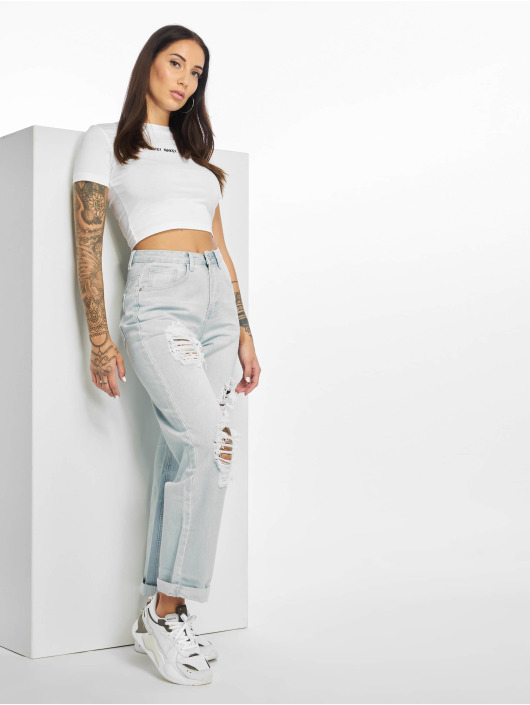 Missguided Dżinsy boyfriend High Waist niebieski