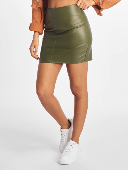 Missguided Falda Faux Leather oliva