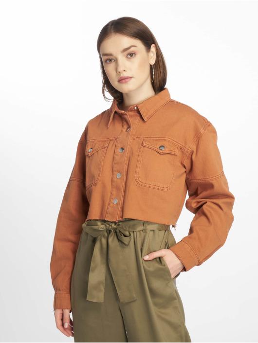 Missguided Farkkutakit Contrast Stitch Cropped ruskea