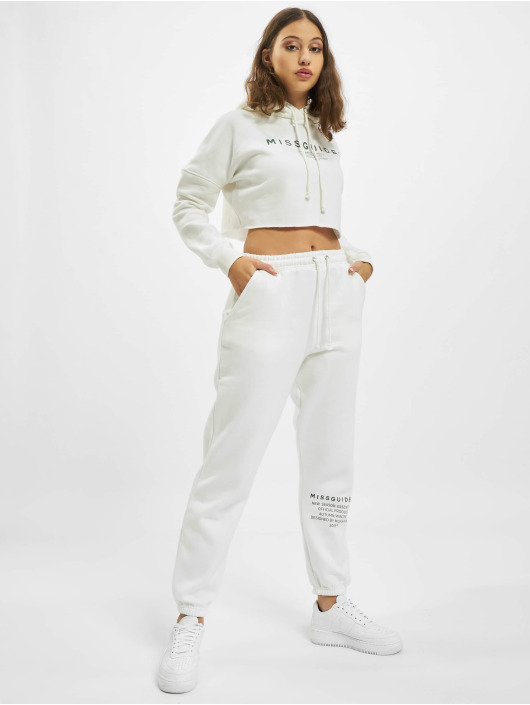 Missguided Felpa con cappuccio Mishort Sleeveguided Branded Cropped bianco