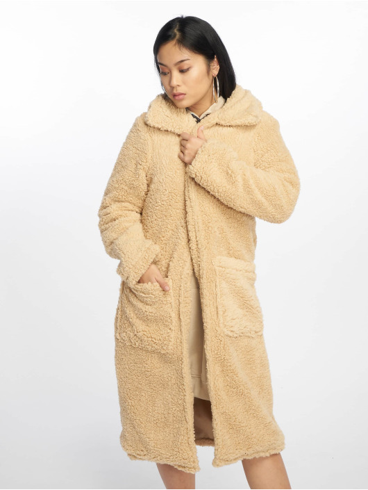 Missguided Frakker Longline Borg Throw On beige