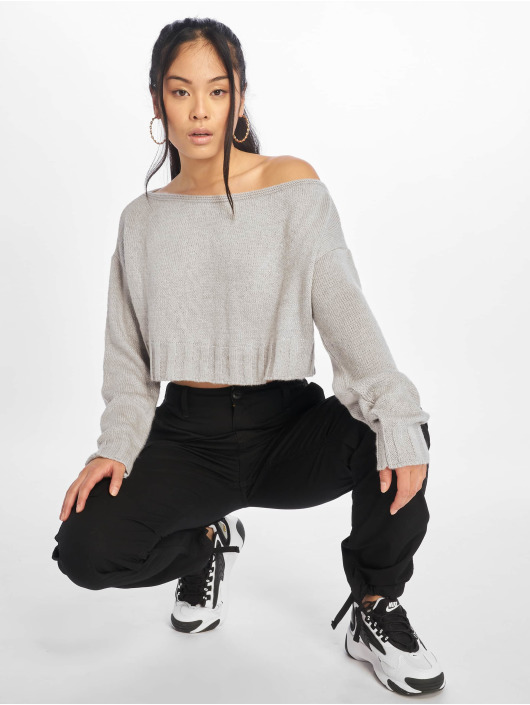 Missguided Gensre Brushed Off The Shoulder Knitted Jumper grå