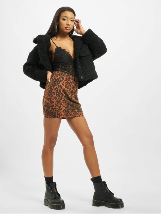 Missguided Gonna Leopard Print Denim Mini Co Ord marrone