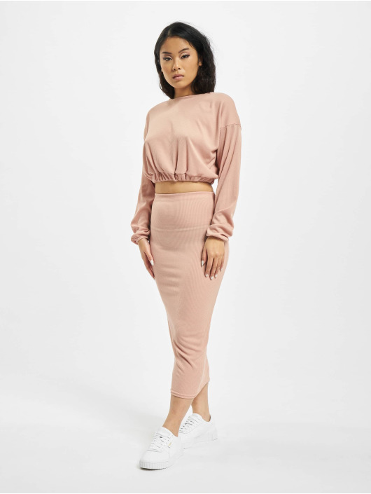 Missguided Gonna Coord Rib Crop rosa