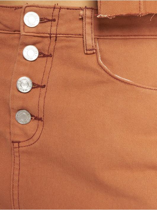 Missguided Hameet Exposed Button Step Hem Denim Mini ruskea