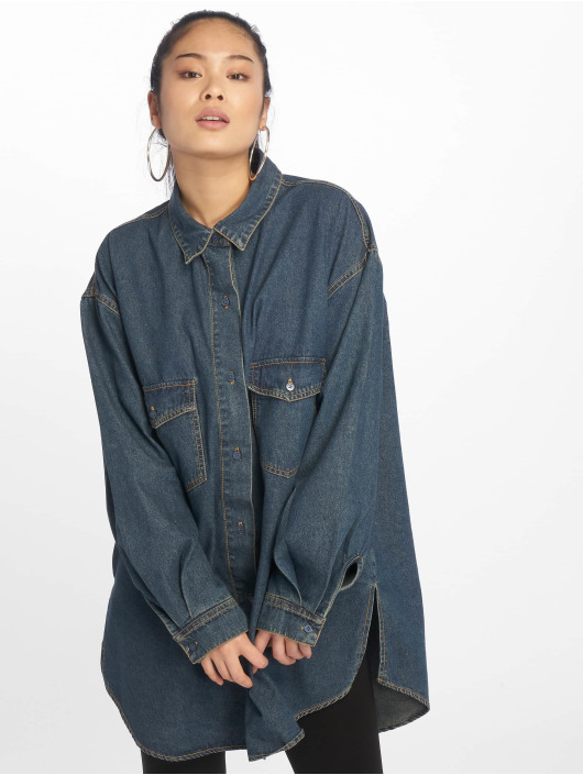 Missguided Hemd Vintage Super Oversized Boyfriend blau