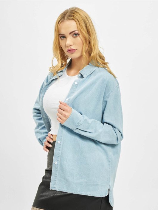 Missguided Hemd Regular Fit Denim Light Wash blau