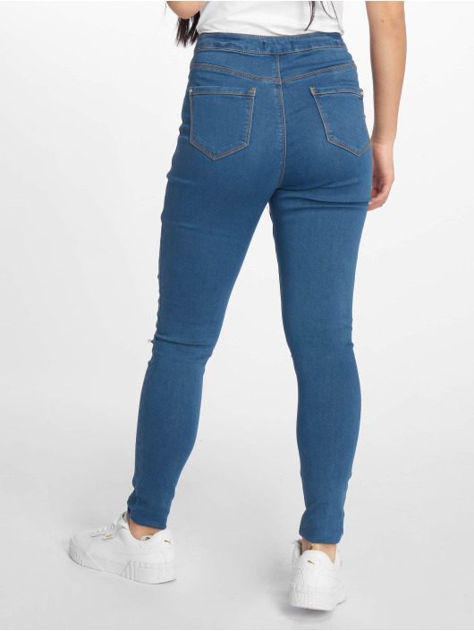 Missguided High waist jeans Vice Highwaisted Slash Knee blå
