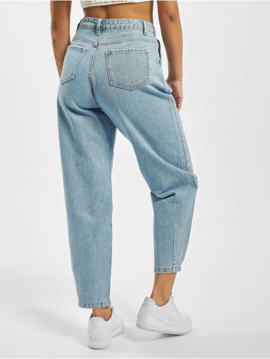 Missguided High Waist Jeans Slouch Pleat Detail blau