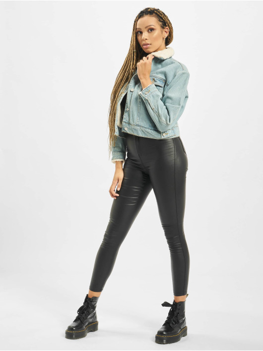 Missguided High Waist Jeans Vice Coated High Waist schwarz