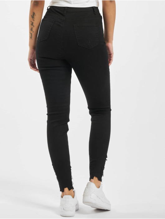 Missguided High Waist Jeans Sinner Destroyed Hem Skinny Highwaisted schwarz