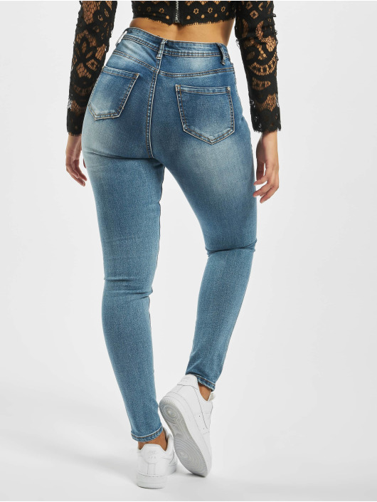 Missguided High Waisted Jeans Sinner Knee Distress синий